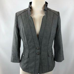 WHBM Women's Herringbone Gray Suit Jacket Blazer
